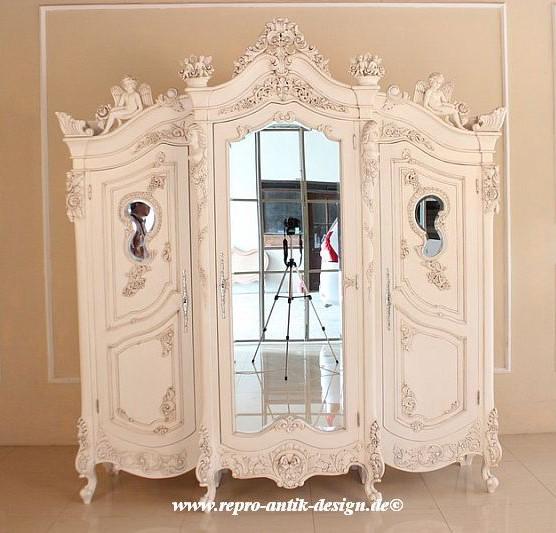 Barock Schrank Kleiderschrank Angel Armoire, mit Spiegel 3-türig, Repro-Antik-Design, Alt-weiß, aufwendige Engel holz schnitzerei