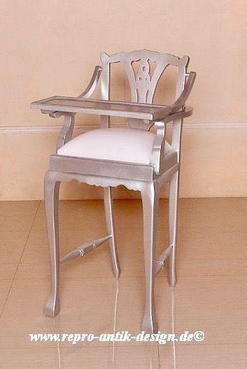 Barock Stuhl Kinderhochstuhl , lackiert in silber, Repro-Antik-Design, Mahagoni massiv holz, aufwendige Holzschnitzerei