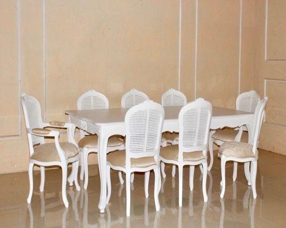 Barock Esszimmer Garnitur, French Profincial,Antik Weiß Mit Rattan, 1 Tisch  Mit 8 Stühlen