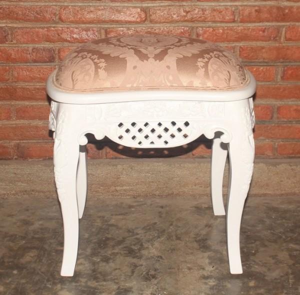 Barock Schminkhocker Stuhl , Repro-Antik-Design, Mahagoni massiv holz, weiß , aufwendige Holzschnitzerei, ausgefallen