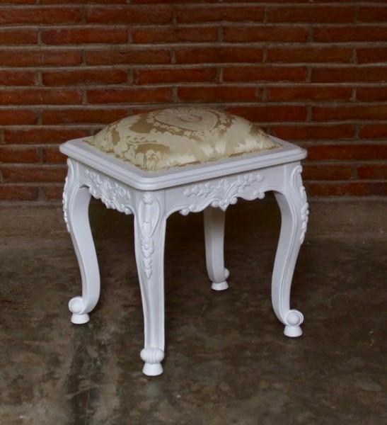 Barock Schminkhocker Stuhl , Repro-Antik-Design, Mahagoni massiv holz, weiß, aufwendige Holzschnitzerei, ausgefallen