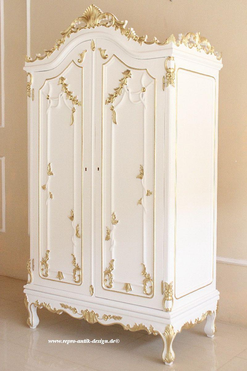 barock kleiderschrank french 2 t rig wei mit starkem gold dekor schr nke shop repro antik. Black Bedroom Furniture Sets. Home Design Ideas