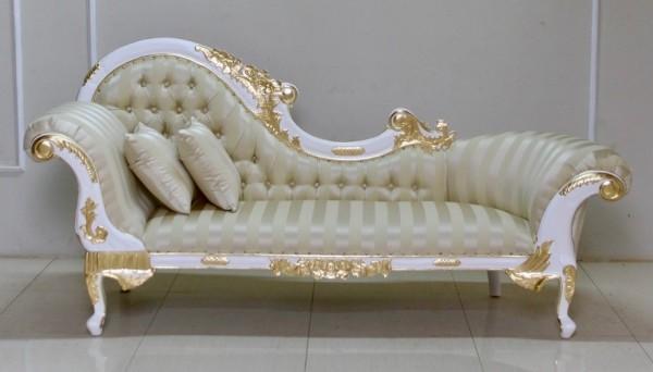 Barock Chaiselongue Sofa , Repro-Antik-Design Mahagoni massiv holz , Ornamente Stoffbezug  aufwendige Holzschnitzerei , belegt mit Blattgold