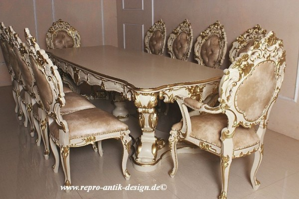 barock esszimmer garnitur venezianischer barock minerva mentenge creme wei mit gold dekor. Black Bedroom Furniture Sets. Home Design Ideas