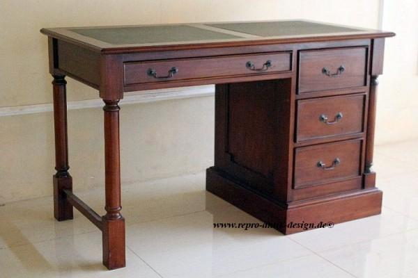 Barock Tisch Schreibtisch mit Schubladen, Repro-Antik-Design, Mahagoni massiv Holz aufwendige Holzschnitzerei