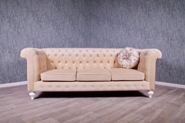 Barock Sofa 3-Sitzer, Repro-Antik-Design, Mahagoni massiv holz