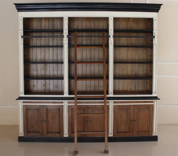 Brock Bücherregal, repro-antik-design, mahagoni massiv holz, weiß schwarz braun