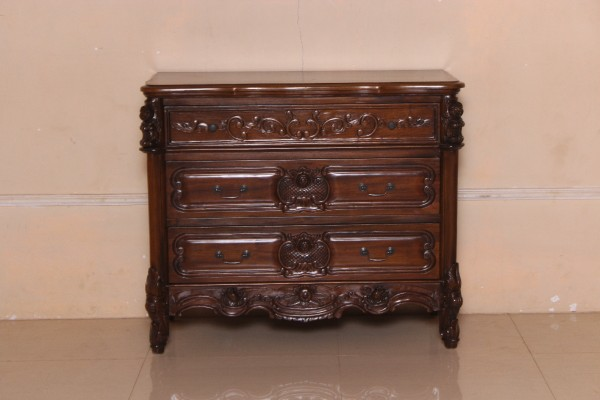Barock Kommode Valbonne Repro-Antik-Design, Mahagoni Massiv Holz