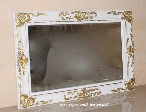 Barock Wandspiegel Spiegel, Repro-Antik-Design, gold weiß Dekor , Mahagoni massiv holz, ausgefallen exclusive