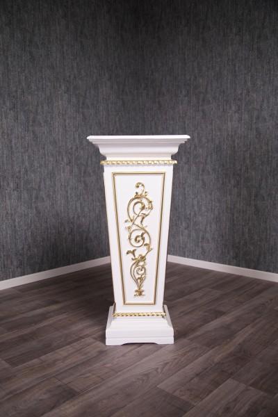 Barock Möbel, Pflanzensäule Blumenständer, Repro-Antik-Design, Mahagoni massiv holz, weiß gold , Holzschnitzerei