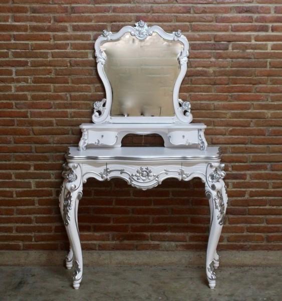 Barock Tisch Schminktisch, Repro-Antik-Design, Mahagoni massiv holz, weiß silber lackiert mit Schubladen und Spiegelaufbau, ausgefallen exclusive