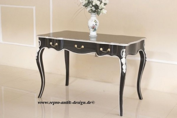 Barock Tisch Schreibtisch Repro-Antik-Design Massiv Holz Mahagoni schwarz lackiert mit silber