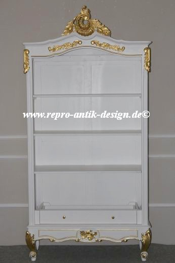 Barock Schrank Bücherregal, Repro-Antik-Design, Mahagoni massiv holz, weiß gold lackiert,ausgefallen, mit aufwendiger Holz schnitzerei.
