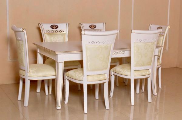 Barock Esszimmer Stühle Tisch Garnitur Polstermöbel, Repro-Antik-Design, , Mahagoni massiv Holz, weiß gold creme , aufwendige Holzschnitzerei