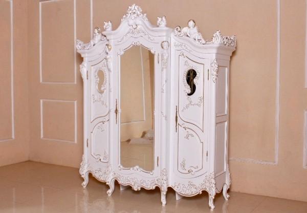 Kleiderschrank weiß barock  Barock Kleiderschrank Angel Armoire, mit Spiegel 3-türig, Antik ...