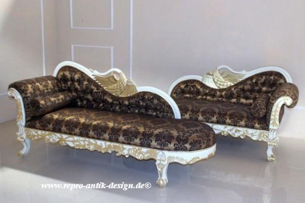 Barock Sofa Recamiere swan Schwan, Repro-Antik-Design, Mahagoni massiv Holz aufwendige Holzschnitzerei Stoffbezug