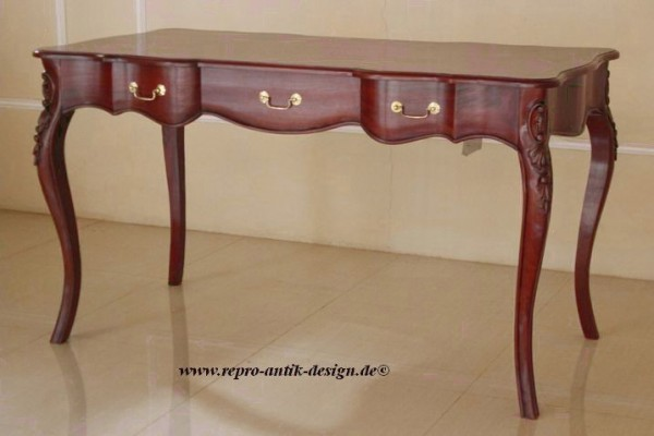 Barock Schreibtisch Repro-Antik-Design Massiv Holz Mahagoni Gold