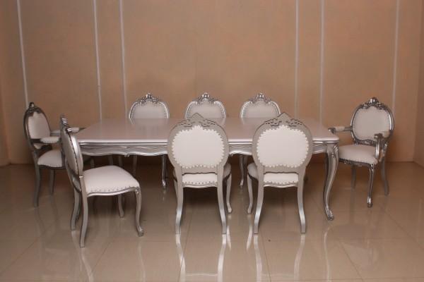 Barock Esszimmer Stuhl Tisch Garnitur Polstermöbel, Repro-Antik-Design, , Mahagoni massiv Holz, silber Nieten, aufwendige Holzschnitzerei