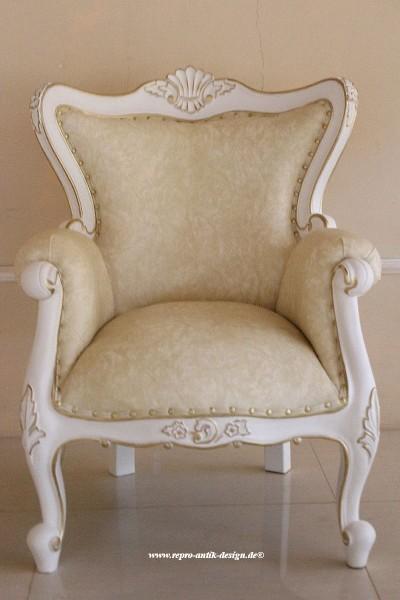 Barock Sessel Polstermöbel, Repro-Antik-Design, Mahagoni massiv Holz, weiß, Kunstleder Goldnieten , aufwendige Holzschnitzerei