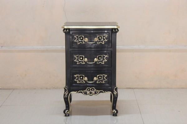 Barock Nachttisch, Repro-Antik-Design, Mahagoni Massiv Holz ausgefallen schwarz mit gold exclusive.