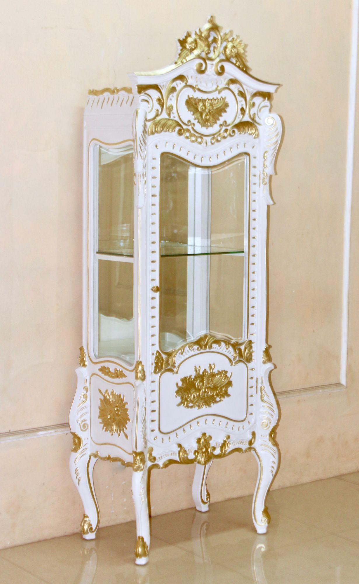 barock vitrine 1 t rig lackiert in antik wei mit starkem gold dekor vitrinen buffets. Black Bedroom Furniture Sets. Home Design Ideas