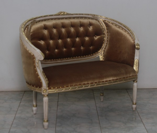 Barock Sofa Sofa 2-Sitzer, Repro-Antik-Design, Mahagoni massiv holz, aufwendige Holzschnitzerei