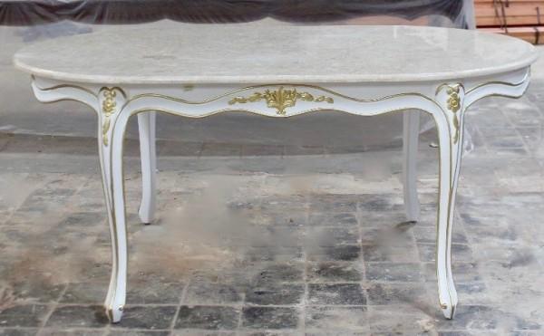 Barock Tisch Esszimmer, Repro-Antik-Design, weiß mit gold Dekor, Mahagoni massiv holz, Holzschnitzerei , ausgefallen exekutive