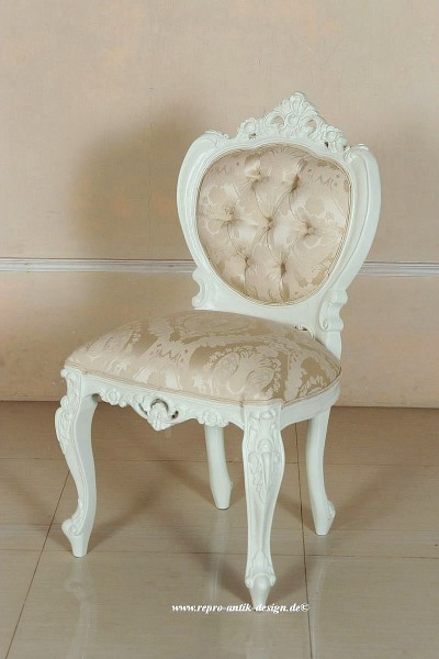 Barock Stuhl Majestic lackiert ivory cream mit creme goldenem Stoffbezug