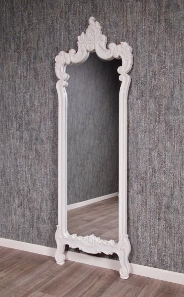 Barock Spiegel Wandspiegel Ankleidespiegel, Repro-Antik-Design, Mahagoni massiv Holz, lackiert in weiß  ,aufwendige schnitzerei, ausgefallen