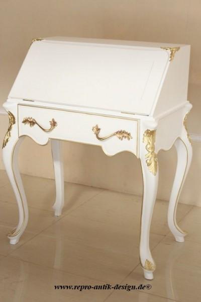 Barock Sekretär, Repro-Antik-Design, Mahagoni Massiv Holz lackiert in weiß mit Goldgriffe